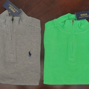 Ralph Lauren Half Zip Waffle Knit Pullover Shirts